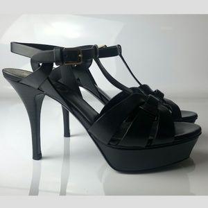 YSL Yves Saint Laurent Tribute Black Sandals 36.5